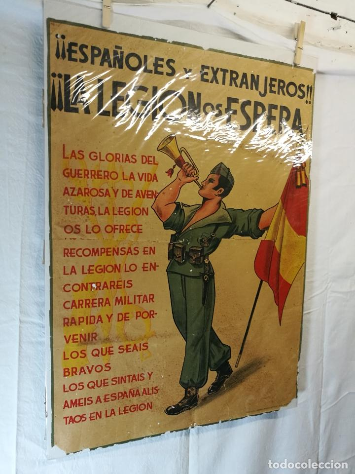 Militaria: cartel de La Legion Guerra Civil--ORIGINAL !!!! impresor martin i.g.ancora ..madrid - Foto 6 - 139454910