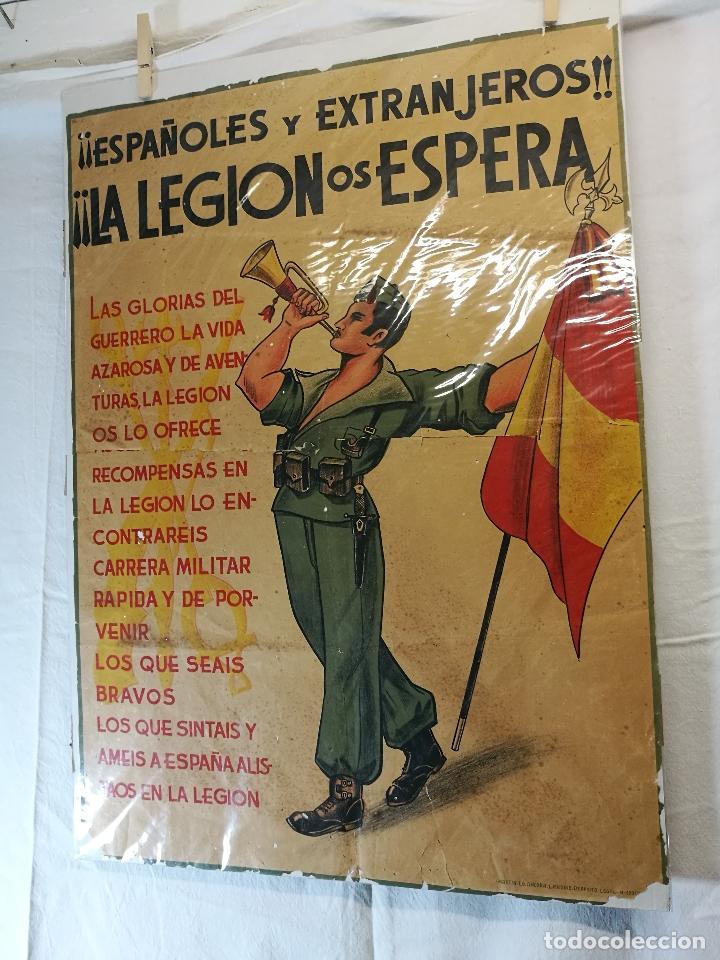 Militaria: cartel de La Legion Guerra Civil--ORIGINAL !!!! impresor martin i.g.ancora ..madrid - Foto 8 - 139454910