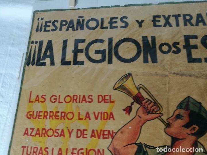 Militaria: cartel de La Legion Guerra Civil--ORIGINAL !!!! impresor martin i.g.ancora ..madrid - Foto 9 - 139454910