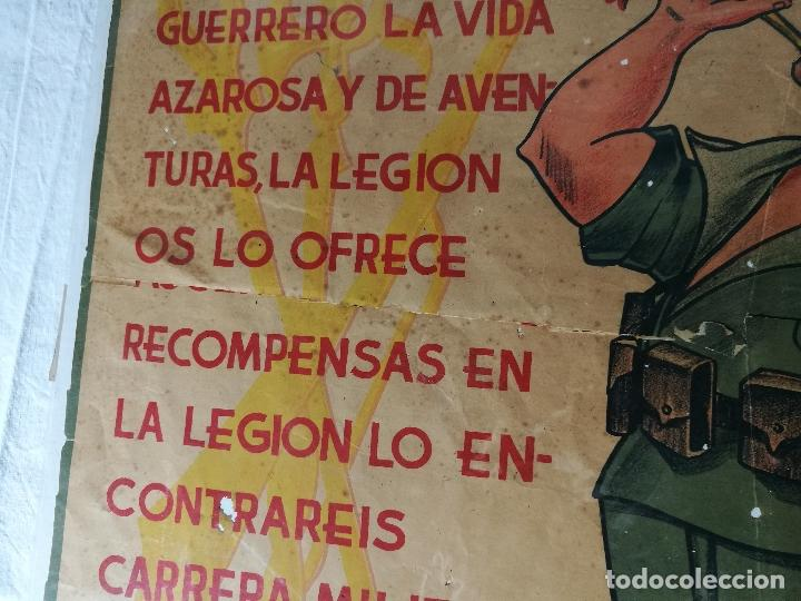 Militaria: cartel de La Legion Guerra Civil--ORIGINAL !!!! impresor martin i.g.ancora ..madrid - Foto 10 - 139454910