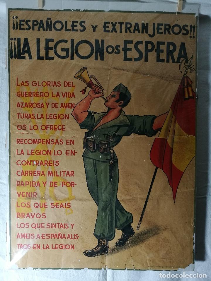 Militaria: cartel de La Legion Guerra Civil--ORIGINAL !!!! impresor martin i.g.ancora ..madrid - Foto 25 - 139454910
