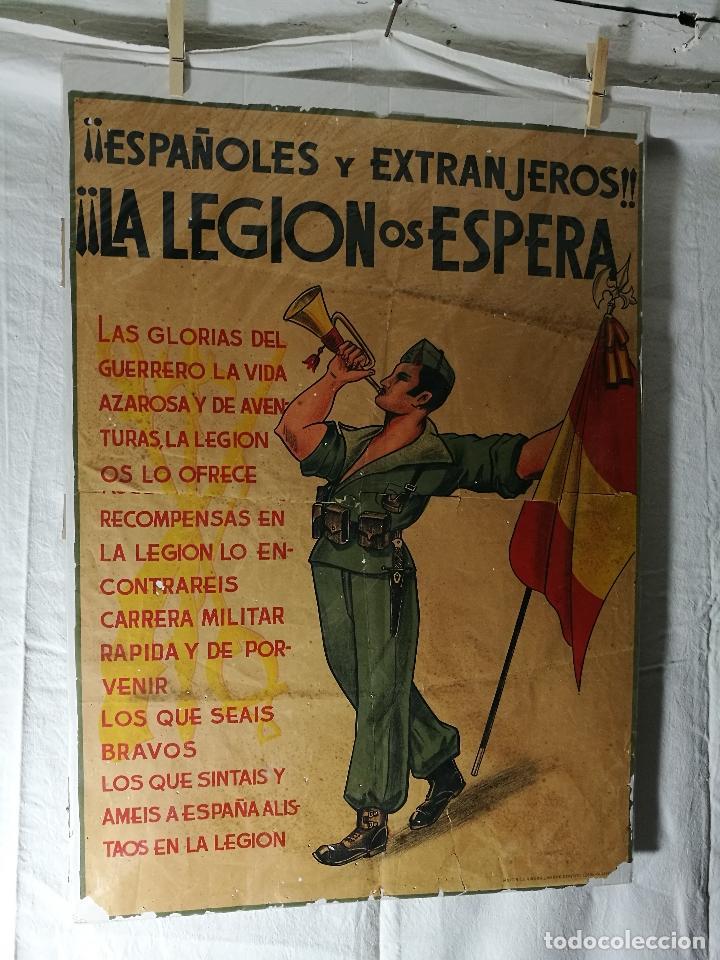 Militaria: cartel de La Legion Guerra Civil--ORIGINAL !!!! impresor martin i.g.ancora ..madrid - Foto 26 - 139454910
