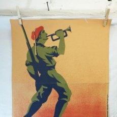 Militaria: CARTEL CARLISTA LITOGRAFÍA VALVERDE RENTERÍA DEL DIBUJANTE ARLAIZ GUERRA CIVIL ESPAÑOLA . Lote 139458214