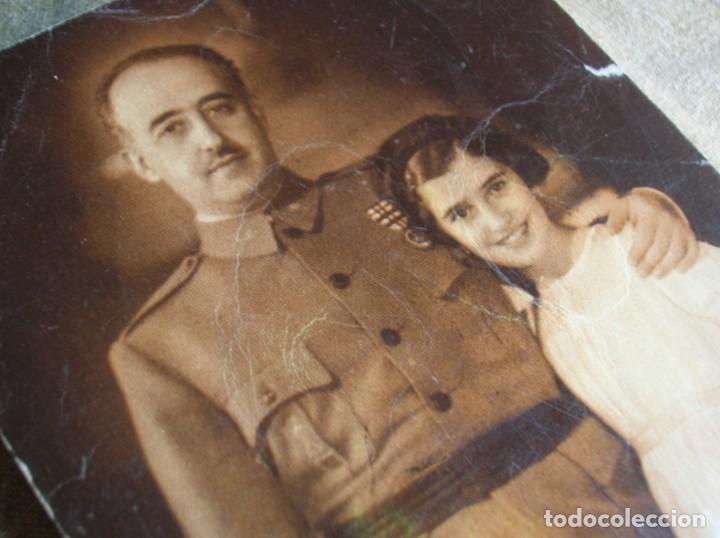 PRECIOSA POSTAL DE EL CAUDILLO GENERALISIMO FRANCO CON SU HIJA CARMEN. FECHADA EN 1949. (Militar - Propaganda y Documentos)