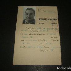 Militaria: MADRID FICHA DE REQUETE 1931 BOINA ROJA CARLISMO . Lote 140024518