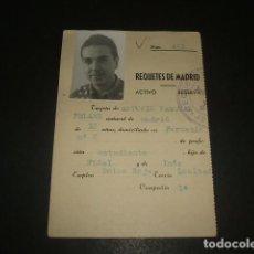 Militaria: MADRID FICHA DE REQUETE 1931 BOINA ROJA CARLISMO . Lote 140024750