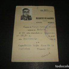 Militaria: MADRID FICHA DE REQUETE 1931 BOINA ROJA CARLISMO . Lote 140024802