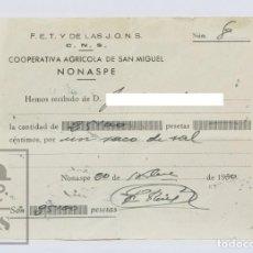 Militaria: RECIBÍ DE COOPERATIVA AGRÍCOLA DE SAN MIGUEL DE NONASPE - FET Y DE LAS JONS / CNS - AÑO 1950 - #OLG. Lote 140126574
