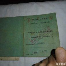 Militaria: OBRA SINDICAL 18 DE JULIO OVIEDO CARTILLA DE ASISTENCIA MEDICA MUTUALIDAD DE PANADERIA 1959. Lote 140172994