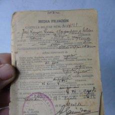Militaria: CARTILLA MILITAR ANTIGUA AGOSTO 1932 MEDIA FILIACION VALLADA VALENCIA . Lote 140494114