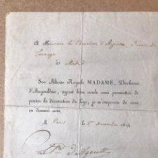 Militaria: ESCRITO FRANCES GUERRA INDEPENDENCIA MADRID 1814. Lote 140632002