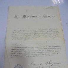 Militaria: MINISTRO DE MARINA. PASAPORTE A DON JUAN JACOME Y PAREJA PARA RUSIA POR FALLECIMIENTO DEL EMPERADOR. Lote 140840798