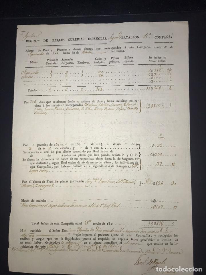 REGIMIENTO REALES GUARDIAS ESPAÑOLAS GUERRA INDEPENDENCIA 1811 (Militar - Propaganda y Documentos)