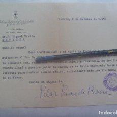 Militaria: FALANGE , SECCION FEMENINA : CARTA DE PILAR PRIMO DE RIVERA A DAVILA, 1956. FIRMA MANUSCRITA. Lote 142180626