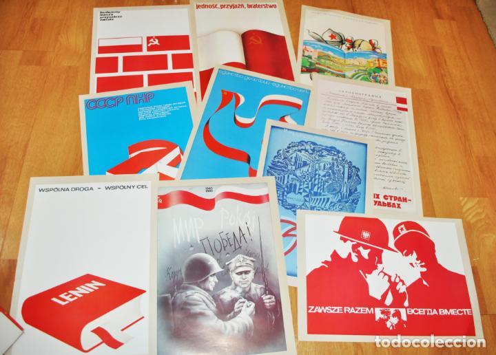 JUEGO DE 22 CARTELES SOVIETICO -POLACOS .AMISTAD ENTRE POLONIA I URSS.MADE IN POLONIA (Militar - Propaganda y Documentos)