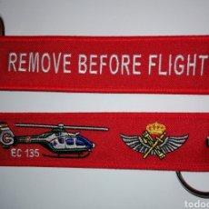 Militaria: LLAVERO BORDADO EC135 GUARDIA CIVIL ESPAÑA- REMOVE BEFORE FLIGHT. Lote 152465692
