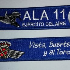 Militaria: LLAVERO BORDADO ALA 11 EJERCITO DEL AIRE ESPAÑA - VISTA, SUERTE Y AL TORO. Lote 176886959