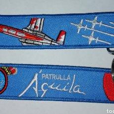 Militaria: LLAVERO BORDADO AZUL PATRULLA AGUILA EJERCITO DEL AIRE ESPAÑA. Lote 195269173