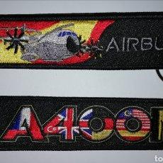 Militaria: LLAVERO BORDADO NEGRO AIRBUS A400M EJERCITO DEL AIRE ESPAÑA. Lote 142611313