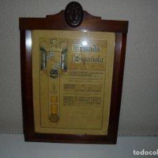 Militaria: DIPLOMA DE LA ARMADA ESPAÑOLA CONCESION DE LA MEDALLA SUFRIMIENTOS POR LA PATRIA 1943.ENMARCADO. Lote 142797950