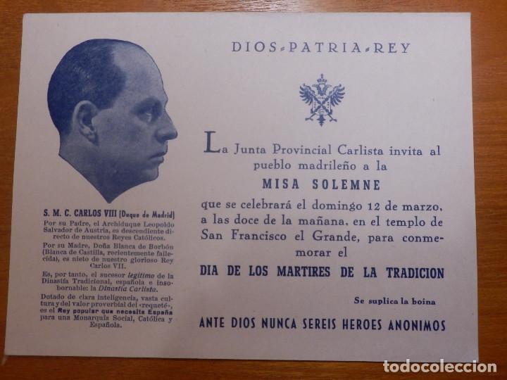 DIOS- PATRIA Y REY - INVITACIÓN MISA - CON COMENTARIOS A LA MASONERIA - MADRID MARZO DE 1950 (Militar - Propaganda y Documentos)