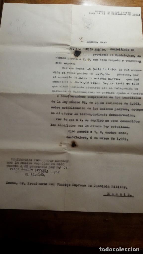 AÑO 1962. MADRE DE SOLDADO MUERTO. MEJORA DE HABER PASIVO. ZONA GUADALAJARA (Militar - Propaganda y Documentos)