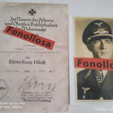 Militaria: DECRETO CRUZ DE 1 KLASE WERNER MOLDERS + FOTO FIRMADA ( FASCIMIL ). Lote 142954470