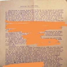 Militaria: ALCOY, DISCURSO DEL JEFE LOCAL DEL FRENTE DE JUVENTUDES, JOSE SANZ LLOPIS, 1940'S. Lote 142991810