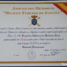 Militaria: DIPLOMA DE CABALLERO - ASOCIACIÓN MEMORIAL REALES TERCIOS DE ESPAÑA (2007). Lote 143005230