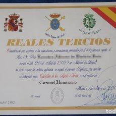 Militaria: DIPLOMA DE CABALLERO - ASOCIACIÓN MEMORIAL REALES TERCIOS DE ESPAÑA (2006). Lote 143005246