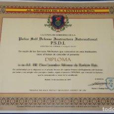 Militaria: DIPLOMA P.S.D.I - POLICE SELF DEFENSE INSTRUCTORS INTERNATIONAL - MINISTERIO DE DEFENSA (2007). Lote 143005442