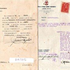 Militaria: GUERRA CIVIL ESPAÑOLA,3 DOC. FALANGISTA INGRESO ACADEMIA INFANTERIA GUADALAJARA,ALFEREZ PROVISIONAL. Lote 143043742