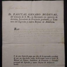 Militaria: EFECTOS EXTRAORDINARIOS. PASCUAL GENARO RÓDENAS. 1816. EJÉRCITO Y CUATRO REYNOS DE ANDALUCÍA.. Lote 143085006