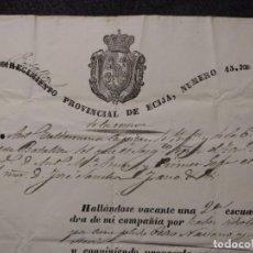 Militaria: 1283. REGIMIENTO (BATALLÓN) PROVINCIAL DE ÉCIJA NÚMERO 13. 1842.. Lote 143087782