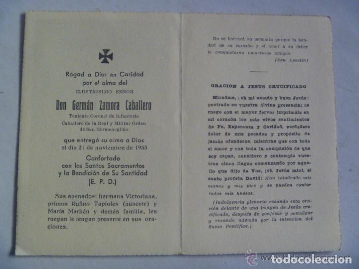Militaria: RECORDATORIO TENIENTE CORONEL INFANTERIA, CABALLERO ORDEN SAN HERMENEGILDO, BARCELONA , 1955 - Foto 2 - 143553254