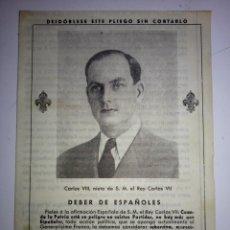 Militaria: MANIFIESTO DEL REY CARLOS VIII. A LOS CARLISTAS Y ESPAÑOLES. VIAREGGIO, ITALIA. 29 DE JUNIO DE 1943. Lote 143758290