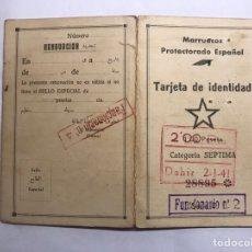 Militaria: GUERRA CIVIL. MARRUECOS. PROTECTORADO ESPAÑOL. TARJETA DE IDENTIDAD (A.1941). Lote 143926242