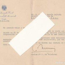 Militaria: CARTA DEL GOBERNADOR CIVIL DE CÁDIZ, EN AGRADECIMIENTO AL ALCALDE DE PRADO DEL REY.AÑO 1951.. Lote 144122018