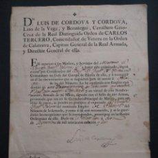 Militaria: LUIS DE CÓRDOVA Y CÓRDOVA LASSO DE LA VEGA. ASCENSO A PILOTÍN. 1792. ISLA DE LEÓN. SAN FERNANDO. Lote 144740826