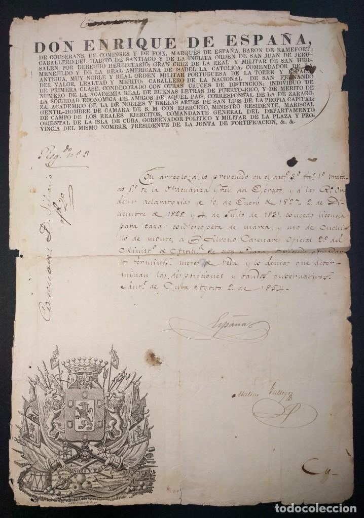 ENRIQUE DE ESPAÑA DE COUSERANS. LICENCIA DE CAZA. 1854. SANTIAGO DE CUBA. CINEGÉTICA 1854 (Militar - Propaganda y Documentos)