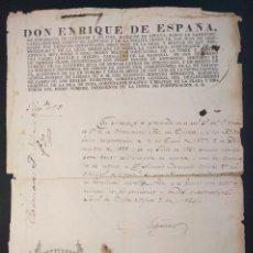 Militaria: ENRIQUE DE ESPAÑA DE COUSERANS. LICENCIA DE CAZA. 1854. SANTIAGO DE CUBA. CINEGÉTICA 1854. Lote 144741006