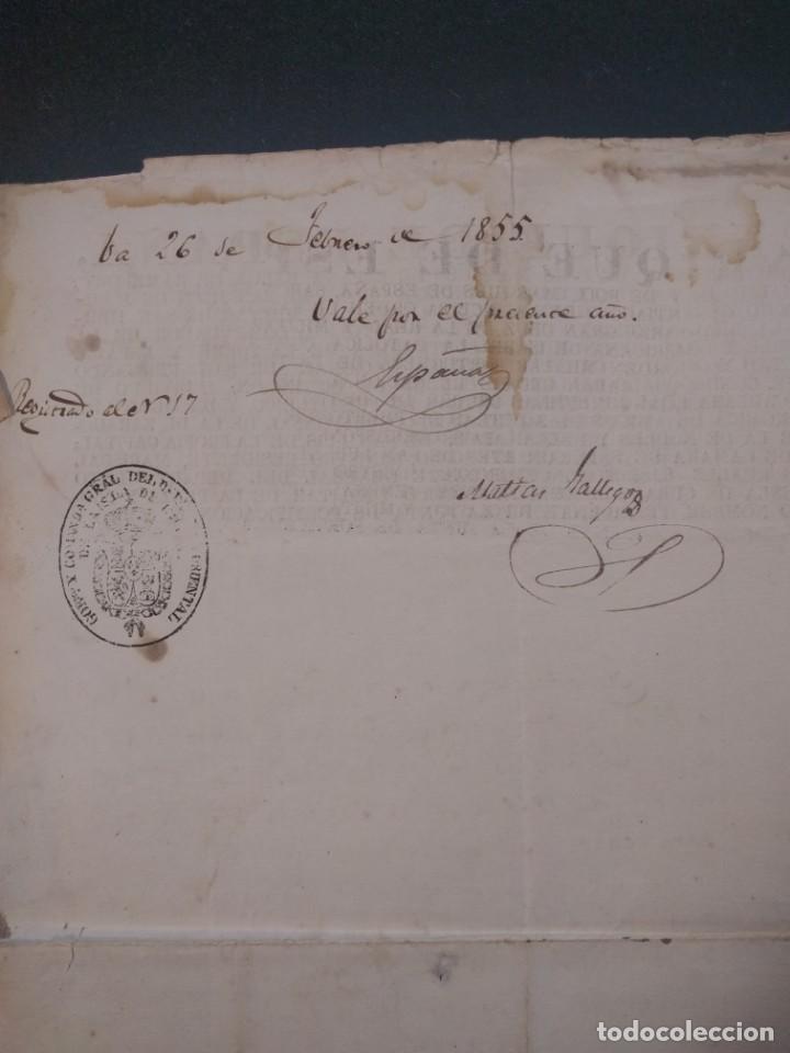 Militaria: Enrique de España de Couserans. Licencia de caza. 1854. Santiago de Cuba. Cinegética 1854 - Foto 3 - 144741006