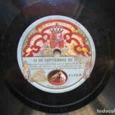 Militaria: DISCO D PIZARRA.DISCURSO DEL GENERAL PRIMO D RIVERA EN CONMEMORACIÓN DEL V ANIV.DEL 13 DE SEP.D 1923. Lote 144960874