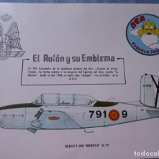 Militaria: FICHA AVIÓN BEECH T 34 A. 791 ESCUADRÓN ACADEMIA GENERAL DEL AIRE MENTOR ESCUELA INICIAL. Lote 288704768