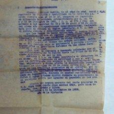 Militaria: DOCUMENTO LIBERACION DE MILITAR REPUBLICANO 1939,ADMISTICIO DE POST GUERRA. Lote 146196470