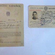 Militaria: LOTE 2 DOCUMENTOS CARNET Y CARTILLA MILITAR, VER FOTOS. Lote 146355534