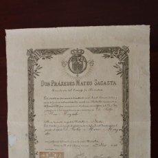 Militaria: CONCESION DE PRÁXEDES MATEO SAGASTA. USO MEDALLA DE PLATA DE LA JURA AL REY ALFONSO XIII (AÑO 1902). Lote 146510774