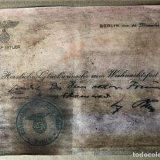 Militaria: CARTA ENVIADA A ALGUIEN POR LAS NAVIDADES 1936 FIRMADA POR HITLER ,MIDE 13X18 CM. Lote 146621618