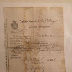 Militaria: CAPITANIA GENERAL III REGION, 1921, GUIA PERTENENCIA WINCHESTER, CAPITAN GENERAL, VALENCIA. Lote 146666721