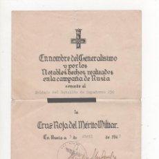 Militaria: DIVISIÓN AZUL - CONCESIÓN DE CRUZ ROJA MÉRITO MILITAR - POR D. EMILIO ESTEBAN INFANTES. Lote 146783346